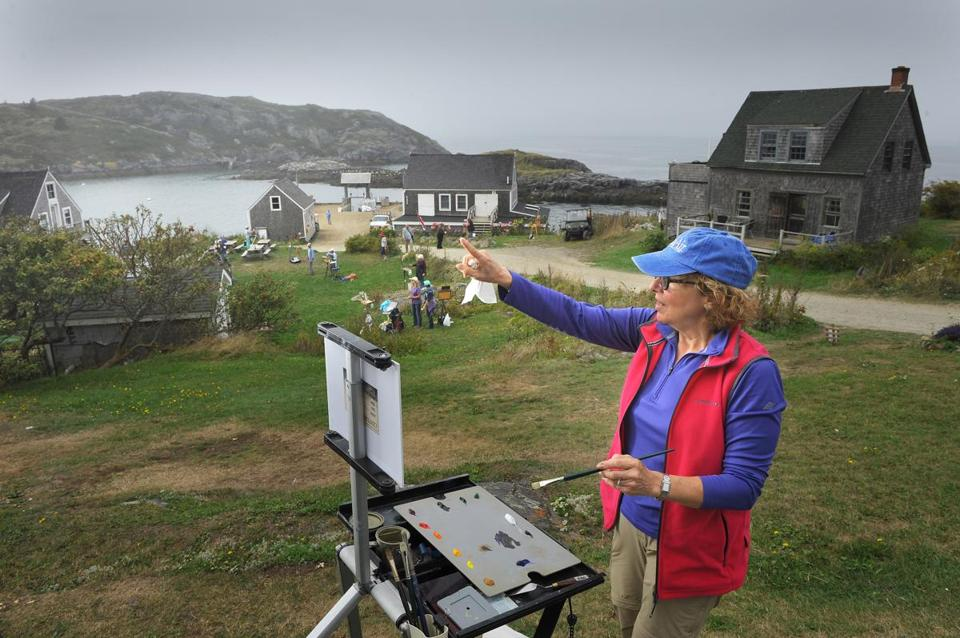 Judy Schubert of Portsmouth, NH painted the idyllic scene on Monhegan Island, Maine.